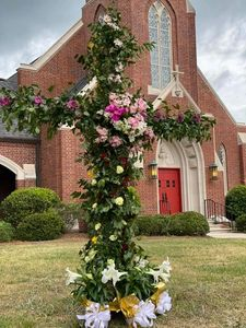 cross, easter, flowers, church