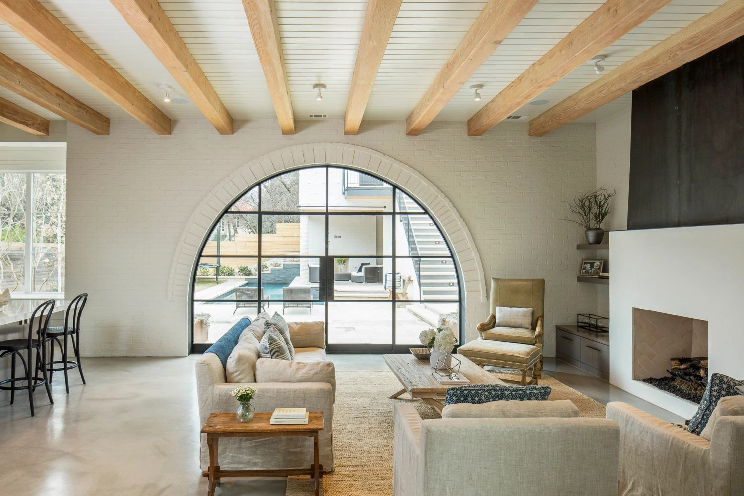 2017 Max Award Custom Home-Austin, Texas.  Great Room featuring custom steel & glass arched doors