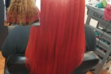 red hair color, before and after hair color services