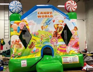 CANDY WORLD BOUNCER:  THIS UNIT IS GREAT FOR BIRTHDAY PARTYS INDOOR AND OUTDOOR, FUN FOR ALL AGES.