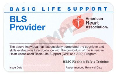 American Heart Association BLS for Healthcare Providers Card