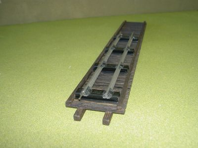S scale track on HO scale trestle deck