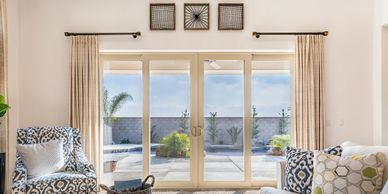 bayview 4 panel patio door installed in a family room