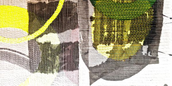 Detail 'Migration', Mixed media abstract textile wall piece, ink on layered machine stitched fabrics