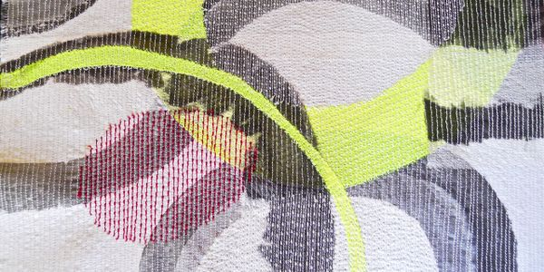 Detail 'Migration', Mixed media abstract textile wall piece, ink on stitched layered fabrics