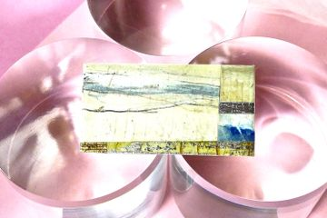 Contemporary handpainted landscape paper brooch/pin, handmade paper jewellery, gifts for her/him,