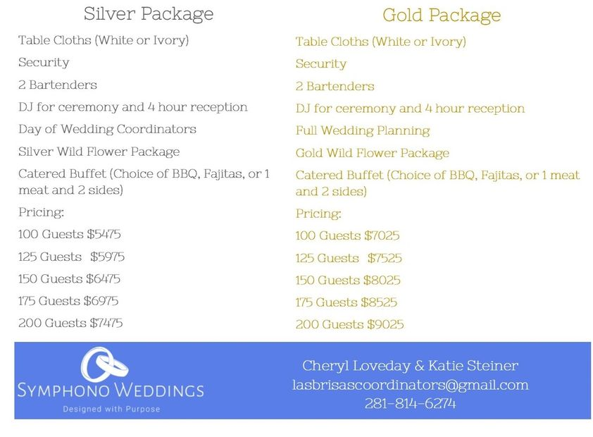 Silver and Gold Inclusive Wedding Packages