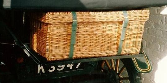 Bespoke Large Picnic Hamper with a Trunk Lid and side finger holes.
