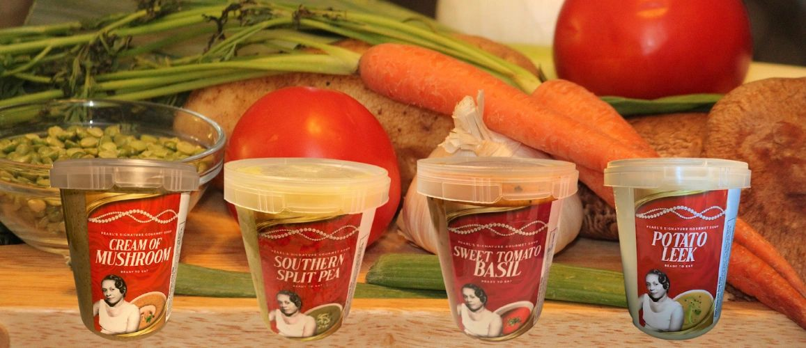 Pearl's Signature Gourmet Soup - Cream of Mushroom, Split Pea, Sweet Tomato Basil, Potato Leek