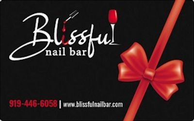 Blissful Nail Bar gift cards available for purchase at the salon.