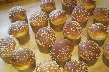 Sweet brioche buns with sugar pearls on top