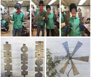 Plasma cut and welded projects by happy participants. Yard art totems, an ornate flower & sconce.