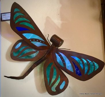 Rustic Refined steel and glass dragonfly wall hanging or free standing sculpture.