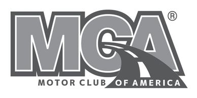 Motor Club Of America, MCA Logo 24/7 Roadside Assistance, Fuel, Gas, Tire, Tow, Lockout, Jump Start.