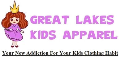 Great Lakes Kids Apparel Logo.  Your New Addiction For Your Kids Clothing. Logo and Tag Line.