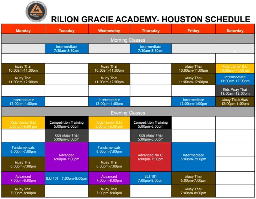 Rilion Gracie Academy Houston Jiu Jitsu Muay Thai and MMA Schedule