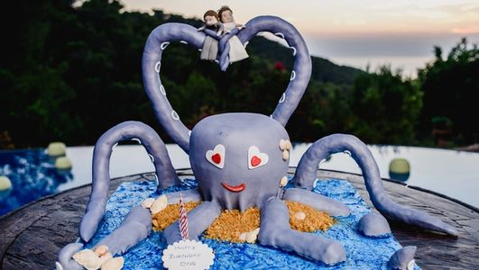 3D Octopus cake for a combined wedding and birthday