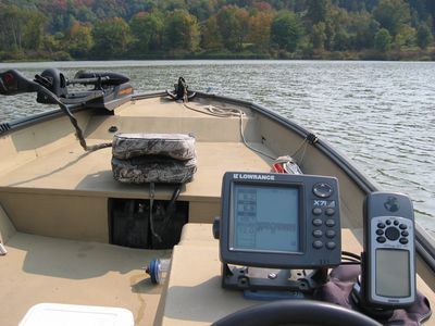 Boat equipped with electronic equipment to rapidly acquire water depth & location data
