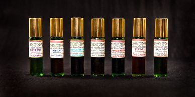 7 Sacred Oils channeled to balance your Chakra System through the power of the olfactory nerve