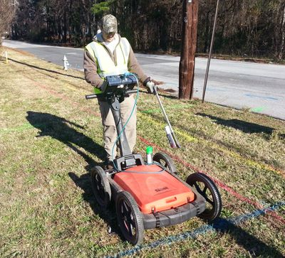 Conducting subsurface utility mapping with Ground Penetrating Radar (GPR).