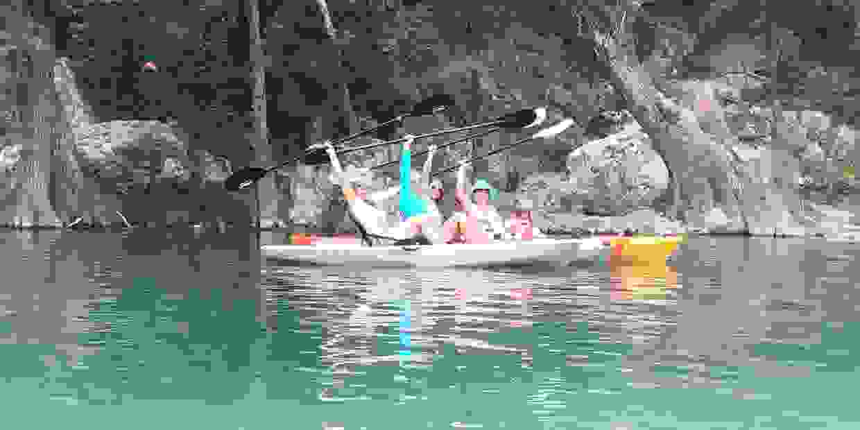 Image of girls getaway on the Frio River in Concan TX.