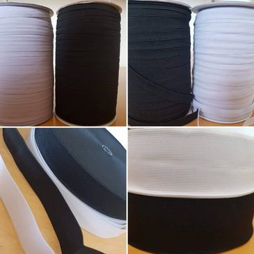 Black and White elastics in 7mm, 12mm, 25mm and 50mm.