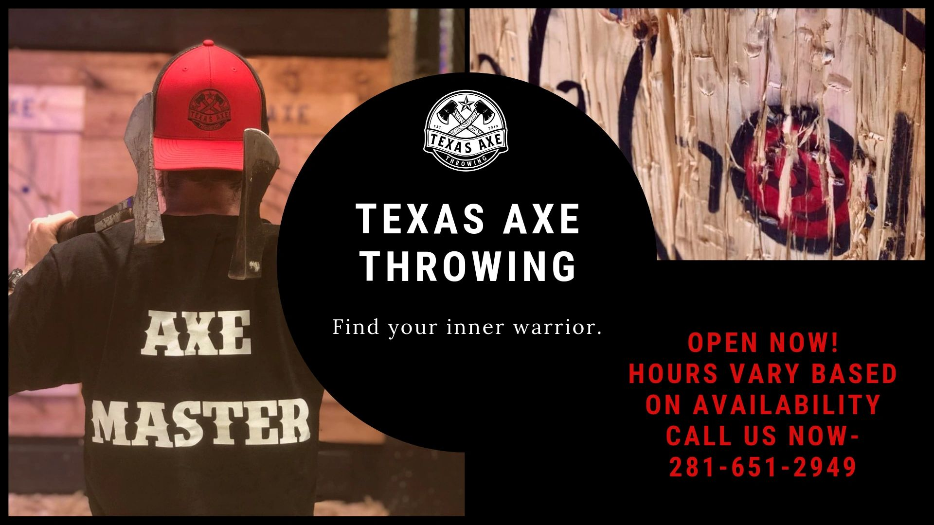 Texas Axe Throwing Inner Warrior Hours Based on Availability