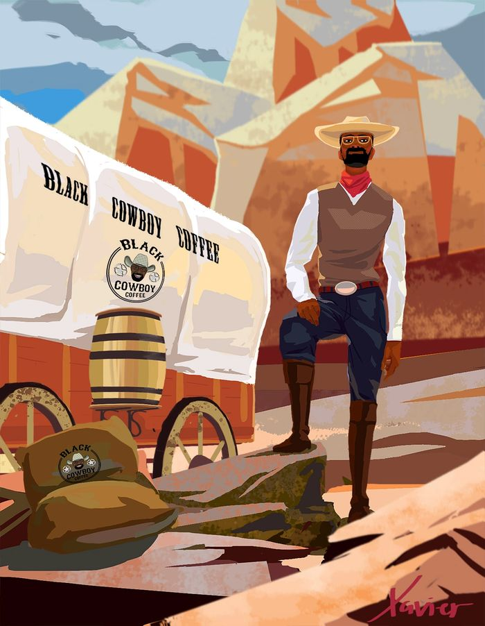 This is Xavier, the infamous Afro-Brazilian coffee supplier to 1800's US cattle trails-Black Cowboy.