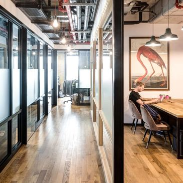 coworking space with private offices for rent
