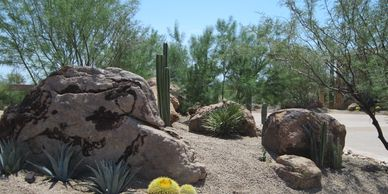Landscape boulders with gravel and cactus