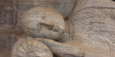 One of the large, beautifully carved Buddha statues in the well preserved site of Polonnaruwa.