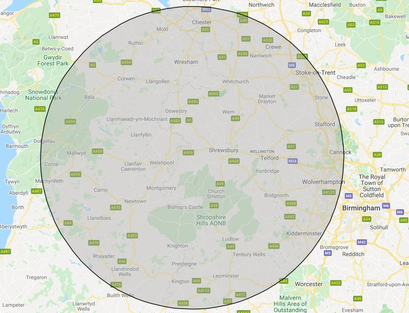 The full area that BH Tree Care covers, all of Shropshire, Powys, Denbighshire, Herefordshire.