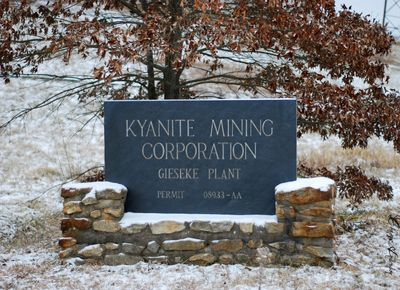 Kyanite Mining Corporation: Gieseke Plant Slate Sign