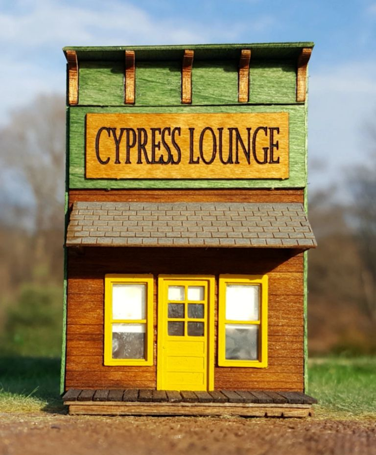 Conowingo Models Cypress Lounge false-front building in HO scale for your model railroad.