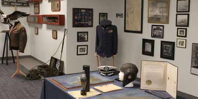Main gallery of ADBC Museum; WWII Pacific Theater artifacts related to Bataan and Corregidor