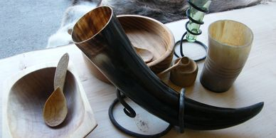 Present Past Historical Crafts - Drinking horn and stand, horn cup.