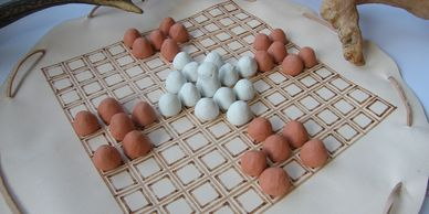 Present Past Historical Crafts - Hnefatafl set with clay playing pieces and leather board
