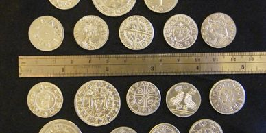 Present Past Historical Crafts - Selection of replica pewter coins based on UK archaeological finds