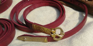 Present Past Historical Crafts - Red leather dyed belt with 'viking'/saxon fittings
