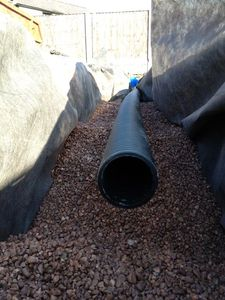 Drainage pipe in trench