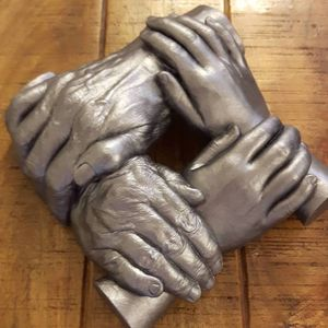 Family 3D hand cast. 3D handmade cast painted in Silver. Poynton, Stockport, Cheshire.
