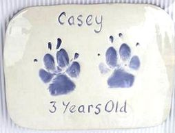 Ceramic Pawprint impressions make perfect pet keepsakes. Stockport, Poynton, Manchester, Cheshire.