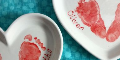 Handprint mugs, handprint bowls, footprints on mugs. Christmas handprint baubles. Poynton, Stockport