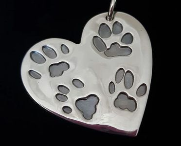 Fine silver pawprint jewellery capturing your cat or dog pawprints in a silver charm. Stockport