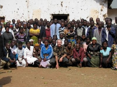 Pastor Rick Eudy with leaders and community influencers at a teaching in Malawi.