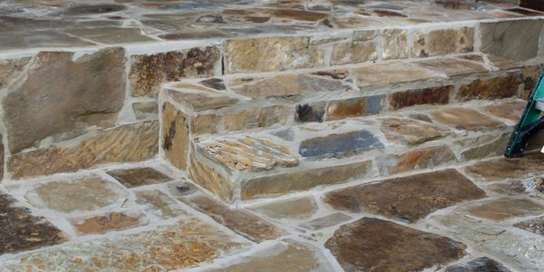 Flagstone patio steps.