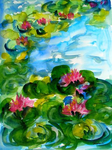 Waterlily Pond , watercolor by Sandy Vaillancourt, original SOLD, available as fine art print
