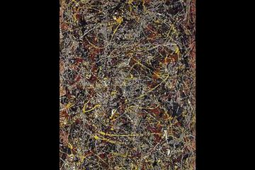 no. 5 by Jackson Pollock oil on fiberboard