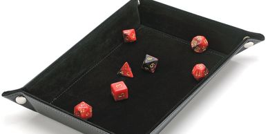 black dice tray with red dice