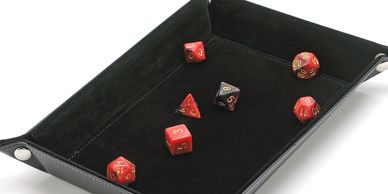 Black dice tray with polyhedral dice